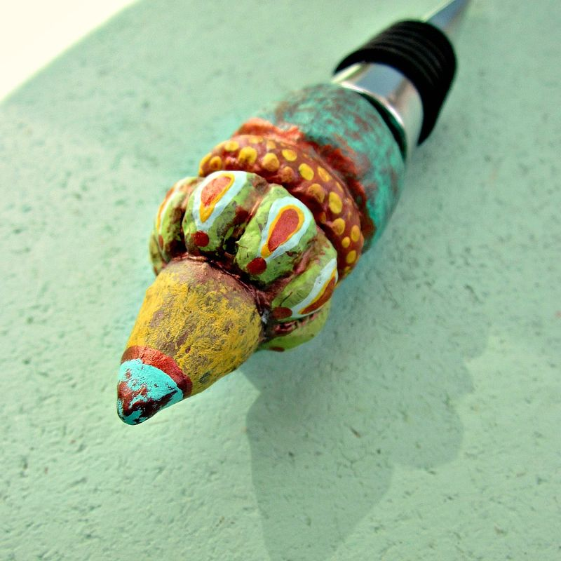 Bottle Stopper with Colorful Sculpted Decorative Paper Mache Top - product images  of