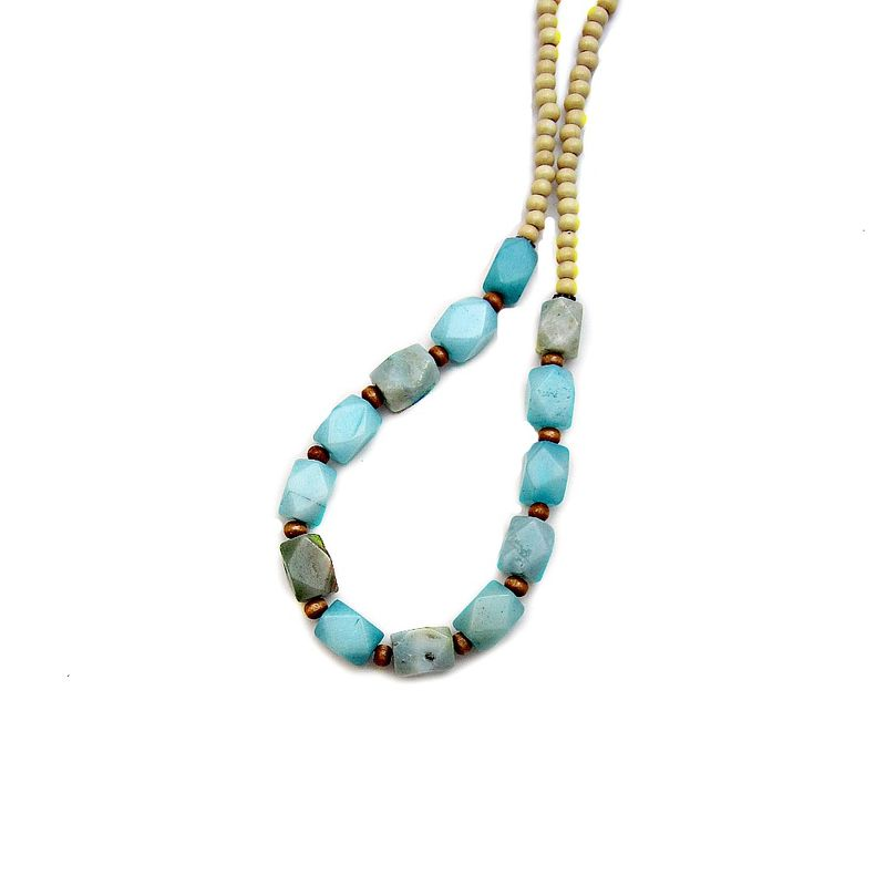 Beaded Blue Stone Necklace with Wood Accents: Excursion - product images  of