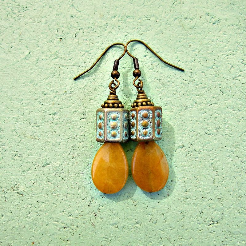 Yellow Agate Teardrop Dangle Earrings: Katerina - product images  of
