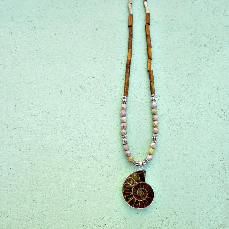 Beaded Necklace with Glass, Coral, and Ammonite Fossil Pendant: Neptune - product images  of