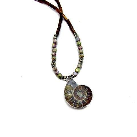 Beaded,Necklace,with,Glass,,Coral,,and,Ammonite,Fossil,Pendant:,Neptune,ammonite fossil pendant necklace, beaded necklace with shell pendant, nautilus pendant necklace, shell fossil necklace with coral beads, nature inspired jewelry