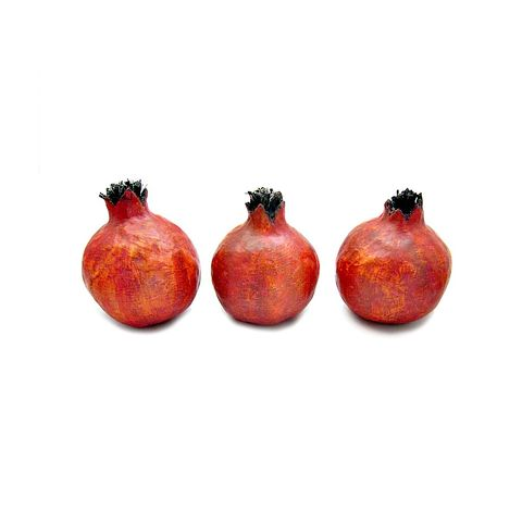 Paper,Mache,Pomegranate,Fruit,,Set,of,Five,MADE,to,ORDER,handmade paper mache fruit, paper mache pomegranates, paper mache, decorative pomegranates, set of five fake fruit,