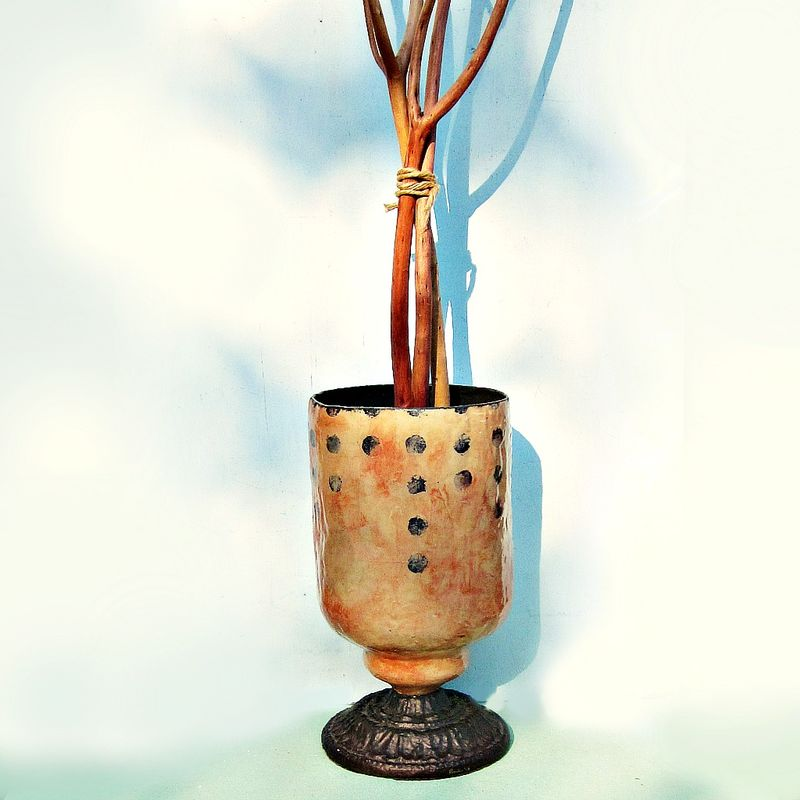 Hurricane Lamp, Decorative Paper Mache Vessel with Glass Insert - product images  of