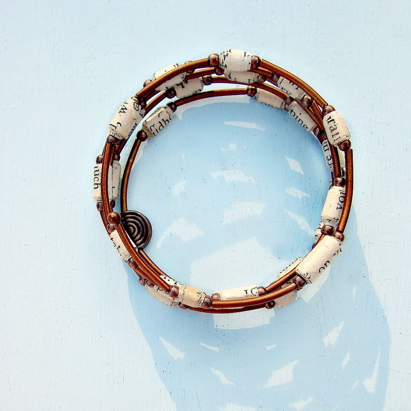 Bracelet, Rustic Copper Wrap Bangle with Paper Bead Accents - product images  of