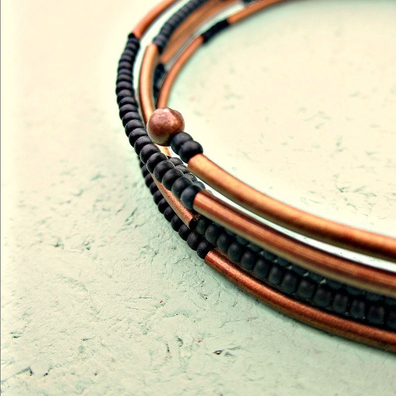 Bracelet, Flexible Wrap Bangle with Matte Black Glass and Rustic Copper Accents - product images  of