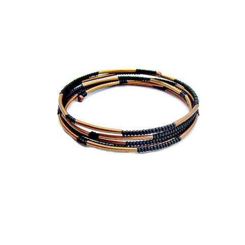Bracelet,,Flexible,Wrap,Bangle,with,Matte,Black,Glass,and,Rustic,Copper,Accents,flexible memory wire wrap bracelet with copper and black glass, matte black bracelet, black wrap bangle bracelet, copper beaded bracelet, flexible no clasp wrap bracelet, glass bead memory wire bracelet
