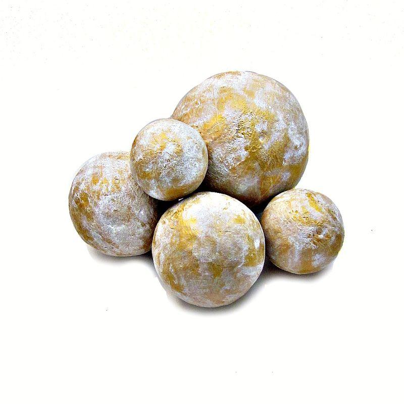 Paper mache accent balls set of five decorative white and