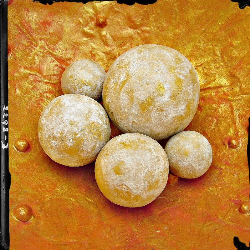 Paper Mache Accent Balls, Set of Five Decorative White and Gold Spheres in Assorted Sizes MADE TO ORDER - product images  of