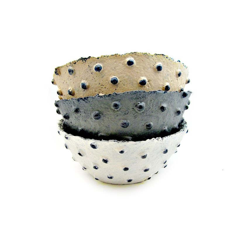 Bowl, Handmade Paper Mache Vessel with Decorative Nodes: Mineral - product images  of