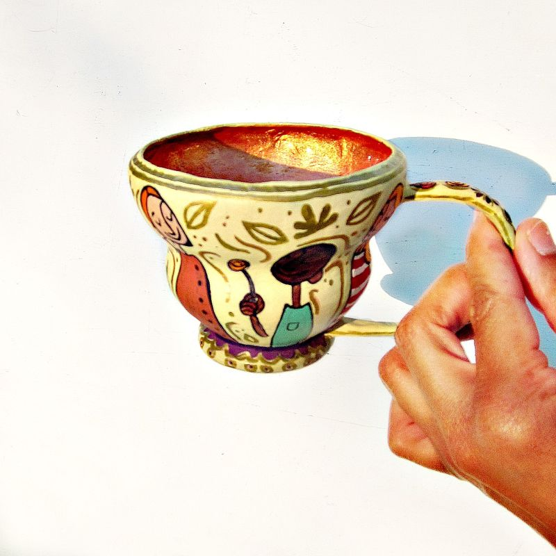 Handmade Decorative Paper Mache Teacup: Tea with Friends - product images  of