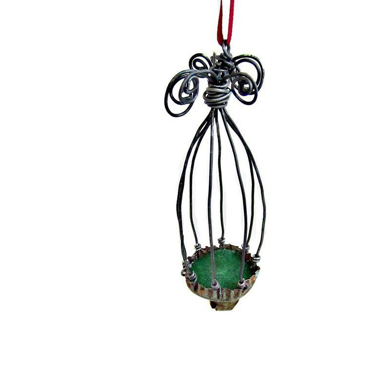 Ornament, Rustic Miniature Wire Cage with Bell: Favorite Things  - product images  of
