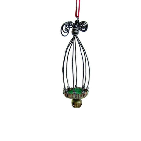 Ornament,,Rustic,Miniature,Wire,Cage,with,Bell:,Favorite,Things,miniature wire cage ornament, little black wire cage, wire sculpture, mini wire cage accent with bell, little rustic cage