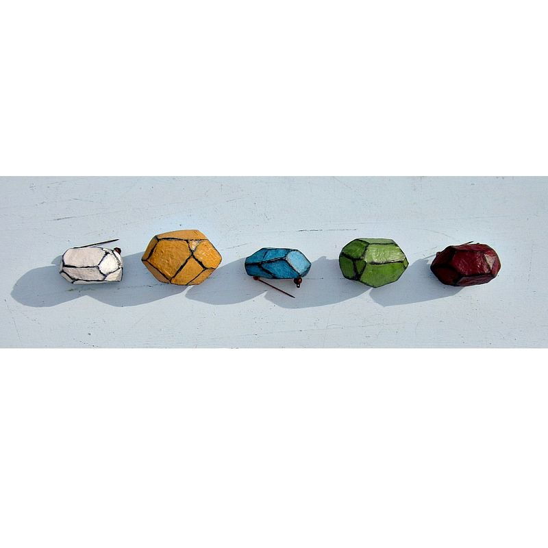 Pin, Paper Mache Faceted Nugget Brooch in Assorted Colors: Archie - product images  of