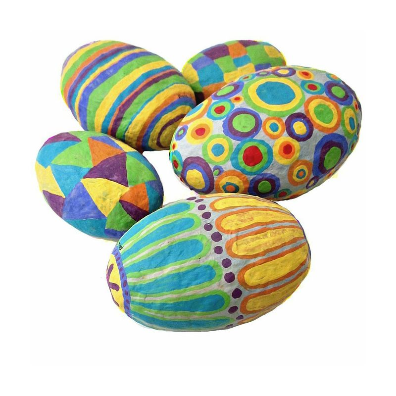 Paper mache stones set of five colorful handsculpted for Papier mache rocks