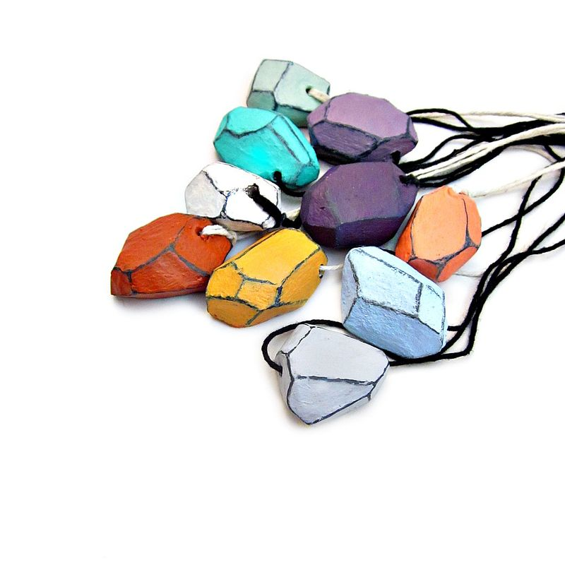 Necklace, Faceted Paper Mache Nugget Pendant on Cord: Julie - product images  of