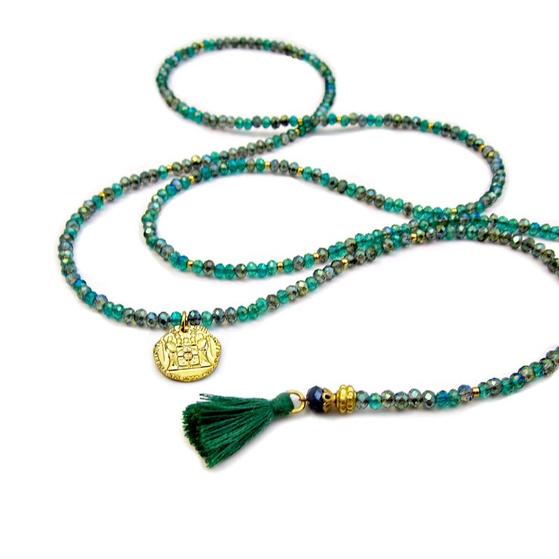 Necklace, Green and Gold Crystal Beaded Lariat with Tassels: Siempre - product images  of