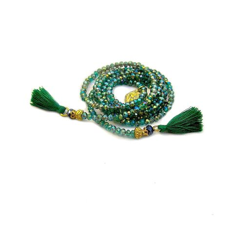 Necklace,,Green,and,Gold,Crystal,Beaded,Lariat,with,Tassels:,Siempre,crystal lariat necklace, green lariat, beaded green necklace, green glass necklace, tassel necklace, long necklace