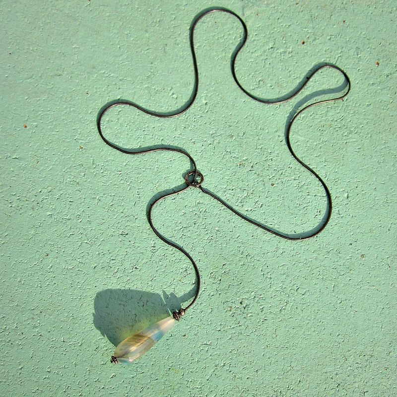 Necklace, Blue Agate Pendant Snake Chain Lariat: Athena - product images  of