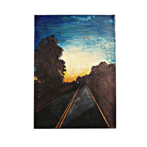 Painting,on,Canvas,,Original,10,x,14,Watercolor,Landscape:,212,watercolor on canvas, metallic paint on canvas, small landscape on canvas, ooak canvas art, original watercolor art on canvas, black artist, highway painting