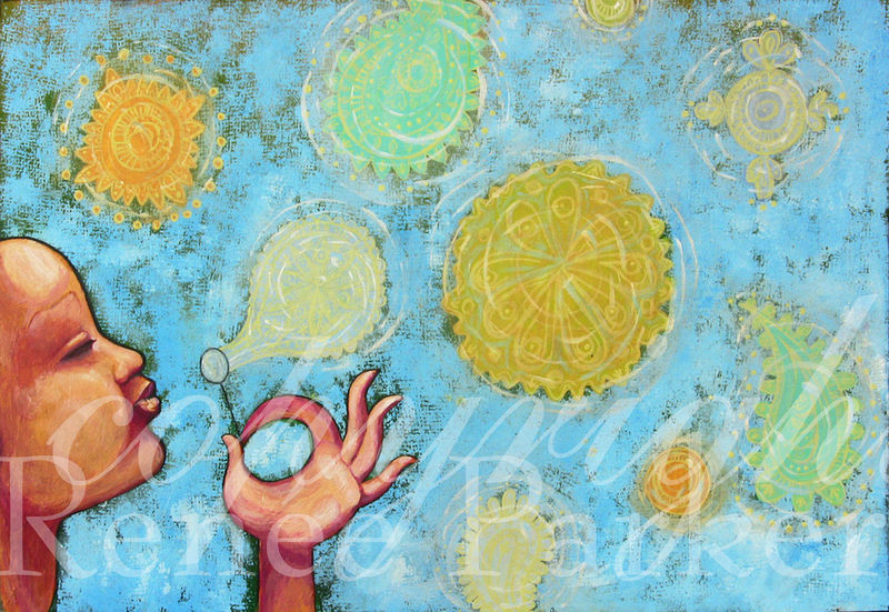 original acrylic painting blowing paisley bubbles in pastel colors
