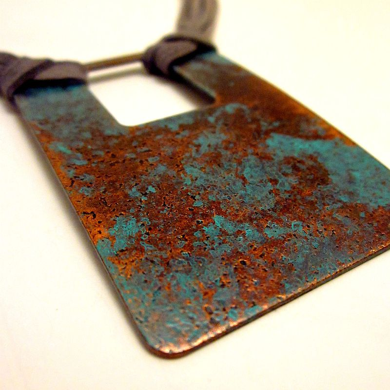 Adjustable Necklace, Copper Pendant on Gray Cord: Blake - product images  of