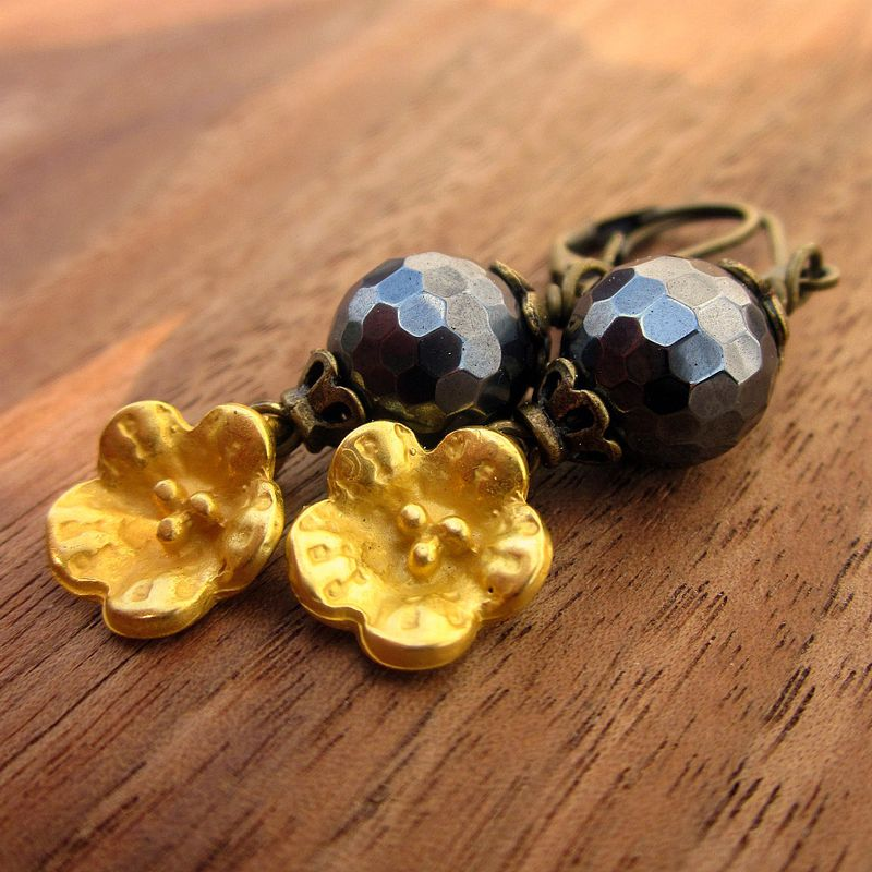 Faceted Hematite Bead and Gold Flower on Rustic Brass Dangle Earrings: Poppies - product images  of