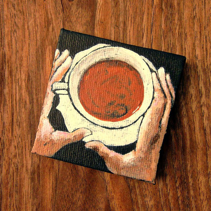 Mini Painting Miniature Original Acrylic Coffee Cup On Canvas Cup