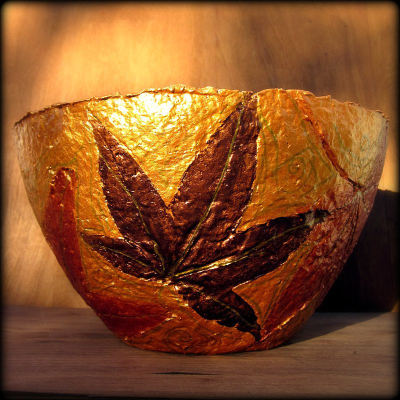 Handmade Paper Mache Bowl, Gold and Copper Leaves Papier Mache Decor - product images  of