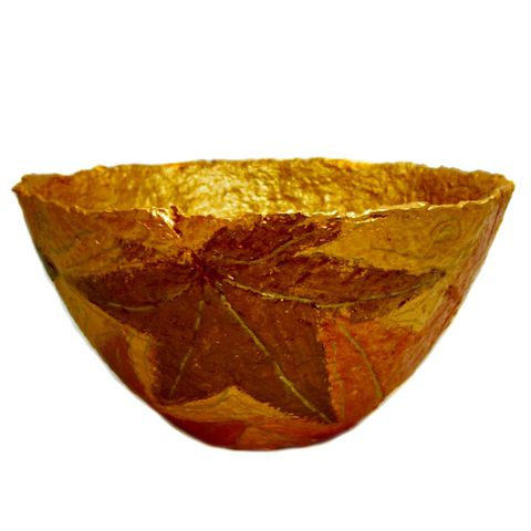 Handmade,Paper,Mache,Bowl,,Gold,and,Copper,Leaves,Papier,Decor,papier mache bowl, paper mache bowl, gold bowl, copper bowl, recycled paper sculpture, paper bowl, fall leaves bowl, autumn theme bowl, centerpiece bowl, fruit bowl, decorative bowl, eco friendly art, metallic bowl, large bowl, recycled decor, paper anniv