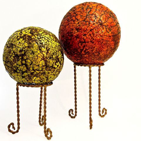 Papier,Mache,Accent,Balls,with,Stands,Set,of,Two,Decorative,Spheres:,Celestial,Orbs,recycled sculpture, accent balls, paper mache decor, home decor, decorative balls, sculpture, globes, spheres on stands, red orange, green, rustic crackle finish, papier mache balls, paper anniversary gifts, first anniversary gifts