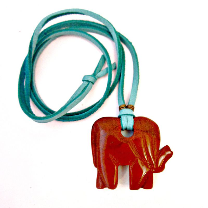 Long Pendant Necklace, Chunky Red Jasper Elephant Pendant on Turquoise Suede Cord - product images  of