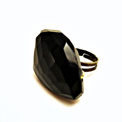 Giant,Black,Agate,Gemstone,Wired,Wrapped,Adjustable,Ring:,Cosmos,adjustable ring, big ring, black ring, chunky ring, brass ring, couture ring, giant ring, gemstone ring, wired ring, agate ring, cocktail ring, costume ring, bold ring