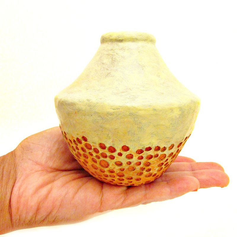 Small Handmade Paper Mache Vase, Green and Orange Papier Mache Decor - product images  of