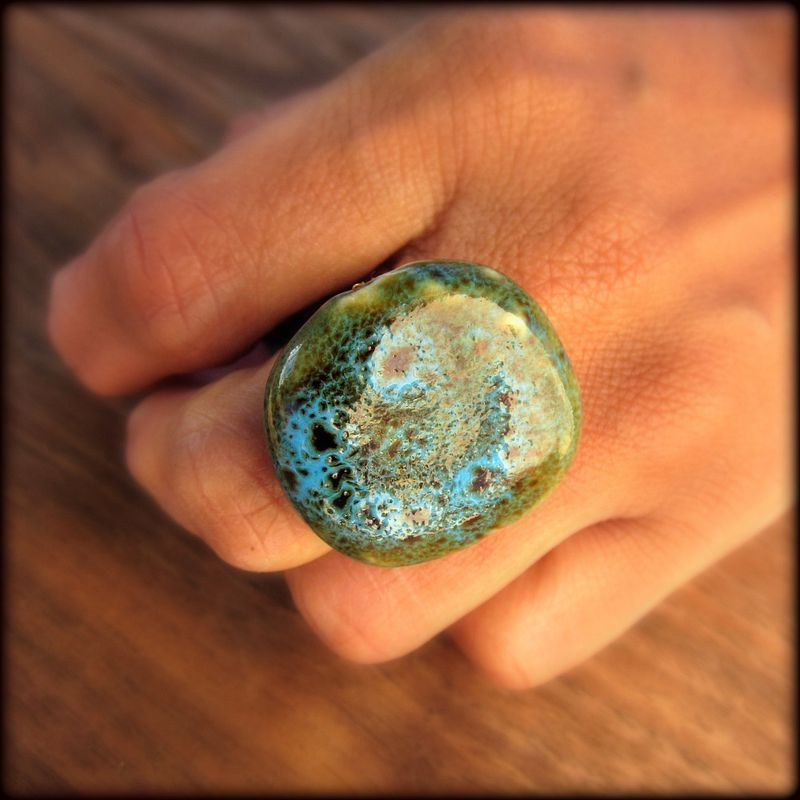 Giant Blue Green Ceramic Bead Wired Wrapped Adjustable Ring: The Wafer - product images  of