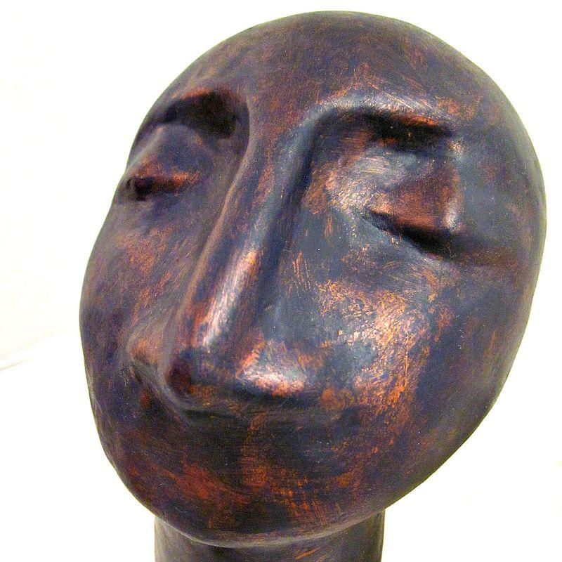 Abstract bust sculpture handmade paper mache head in