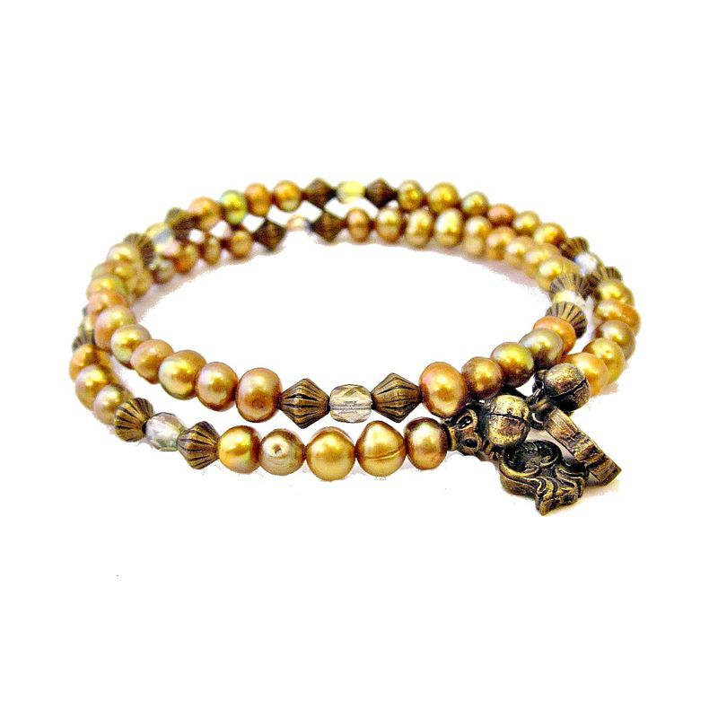 Beaded Adjustable Memory Wire Bracelet with Gold Pearls and Glass ...