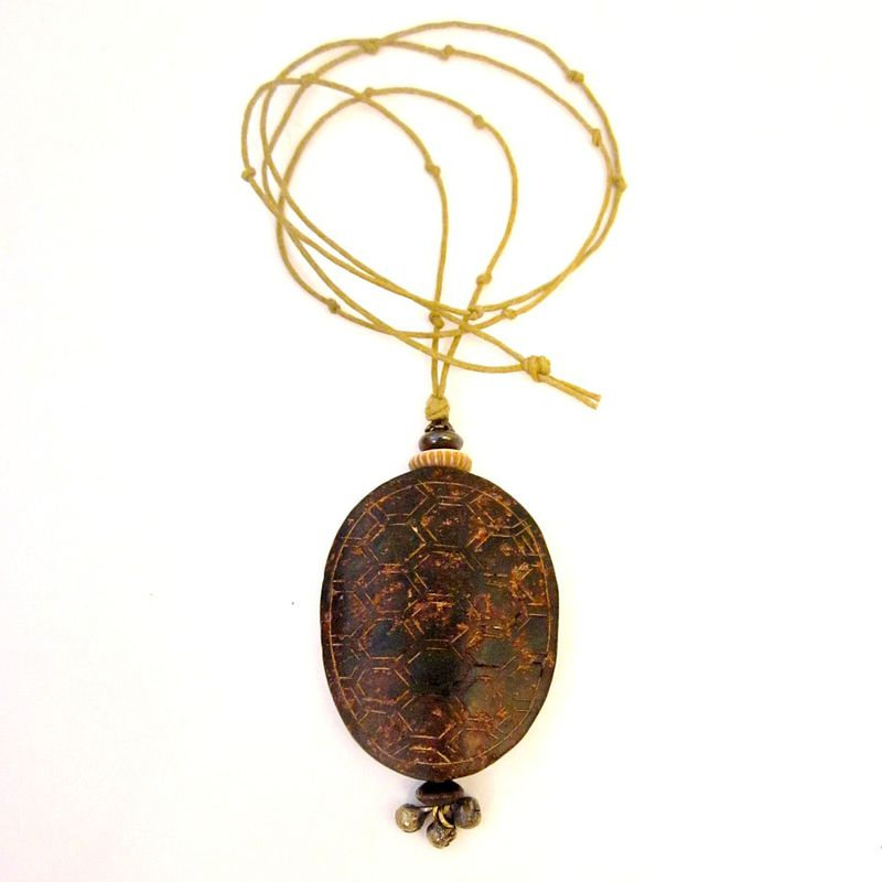 Long Cord Necklace with Jade Turtle Shell Pendant: Bayou - product images  of