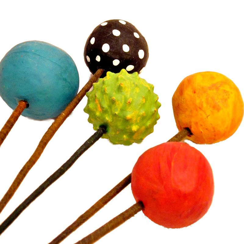 Floral Pick Set of Five Colorful Paper Mache Balls on Stems Recycled Decor MADE TO ORDER - product images  of