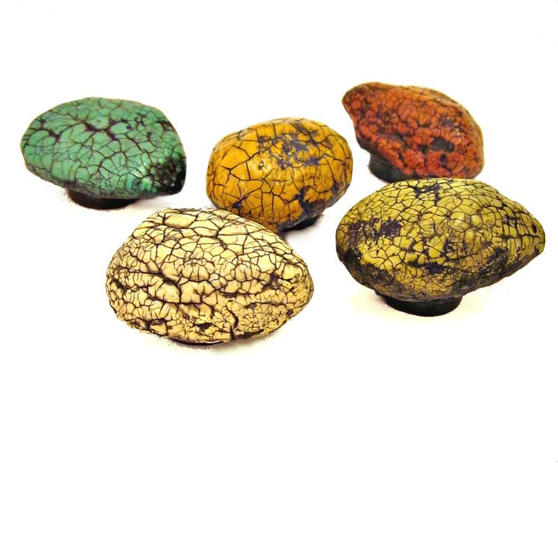 Colorful Magnet Set, Five Paper Mache Crackled Stone Recycled Decor Magnets: Painted Stones MADE TO ORDER - product images  of