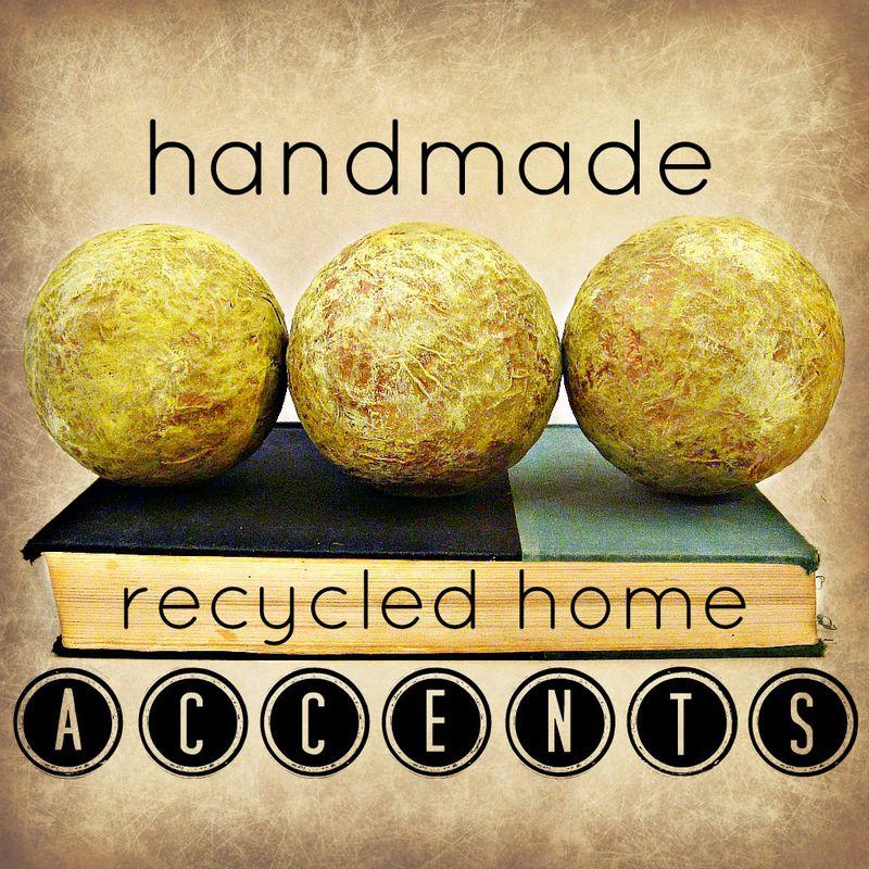 Green and gold handmade papier mache accent balls set of