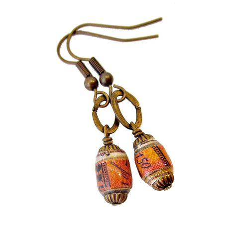 Dangle,Earrings,with,Handmade,Paper,Beads:,Tearsheets,orange dangle earrings, paper bead jewelry, recycled paper jewelry, handmade bead jewelry
