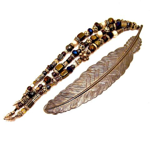 Beaded,Feather,Bookmark,with,Gunmetal,Finish,and,Three,Dangling,Strands,beaded metal feather bookmark, dangle bookmark, gunmetal finish bookmark, sparkly beaded bookmark, fancy unique bookmark, embellished bookmark