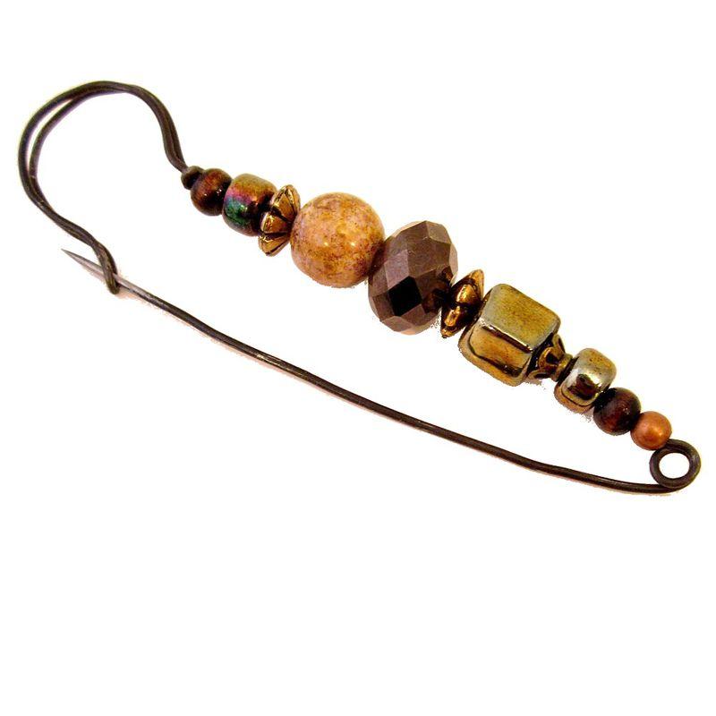 Large Beaded Black Wire Handmade Scarf Pin: Phaedra - Created by Renée