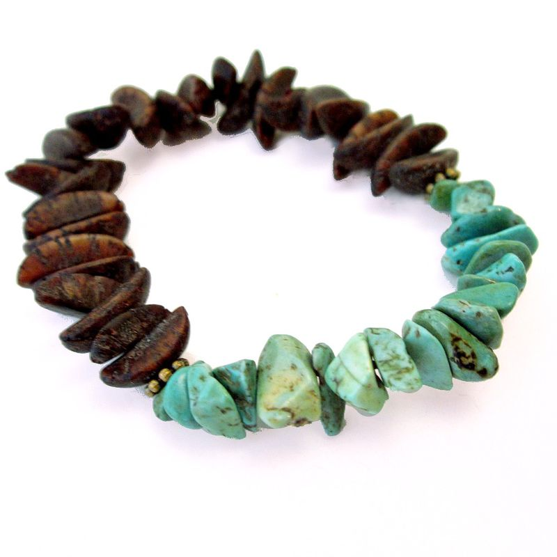Women's Stretch Bracelet with Green Howlite and Natural Seed Pod Beads - product images  of
