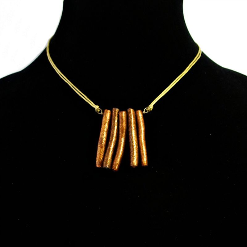 Dyed Gold Coral on Adjustable Cotton Cord Necklace: The Natural Woman - product images  of