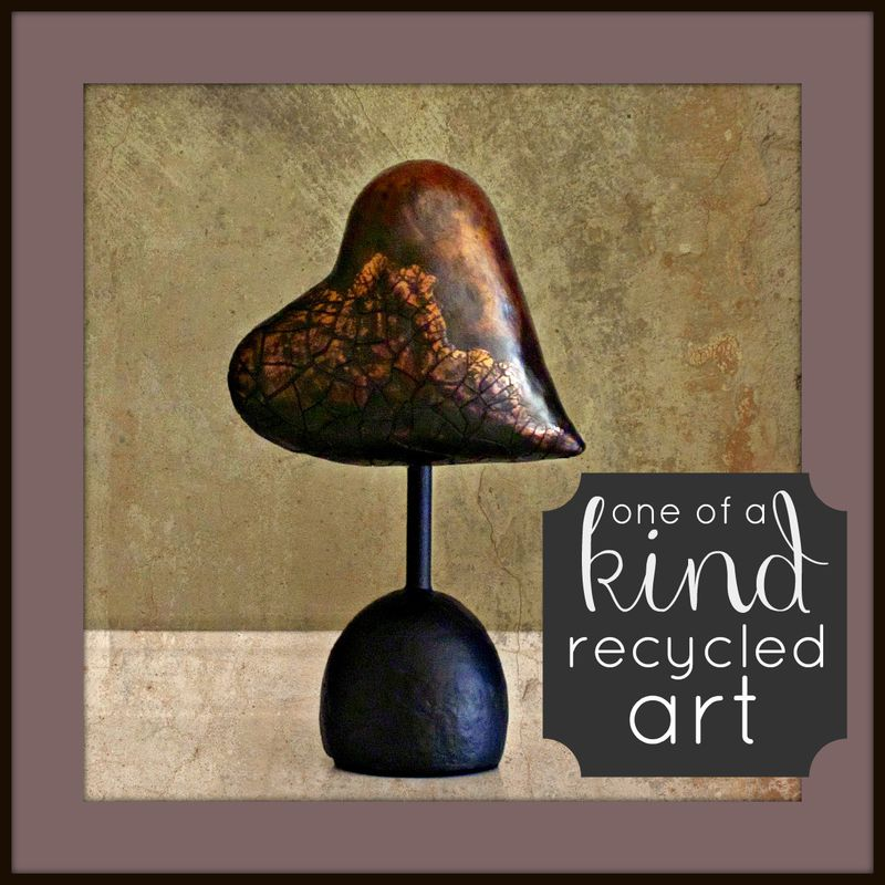 Faux Bronze Papier Mache Heart Sculpture: Flight Risk - product images  of
