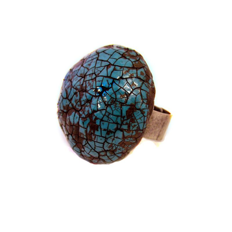 Adjustable Rustic Silver Ring with Giant Crackled Turquoise Paper Mache Cabochon: Zandra - product images  of