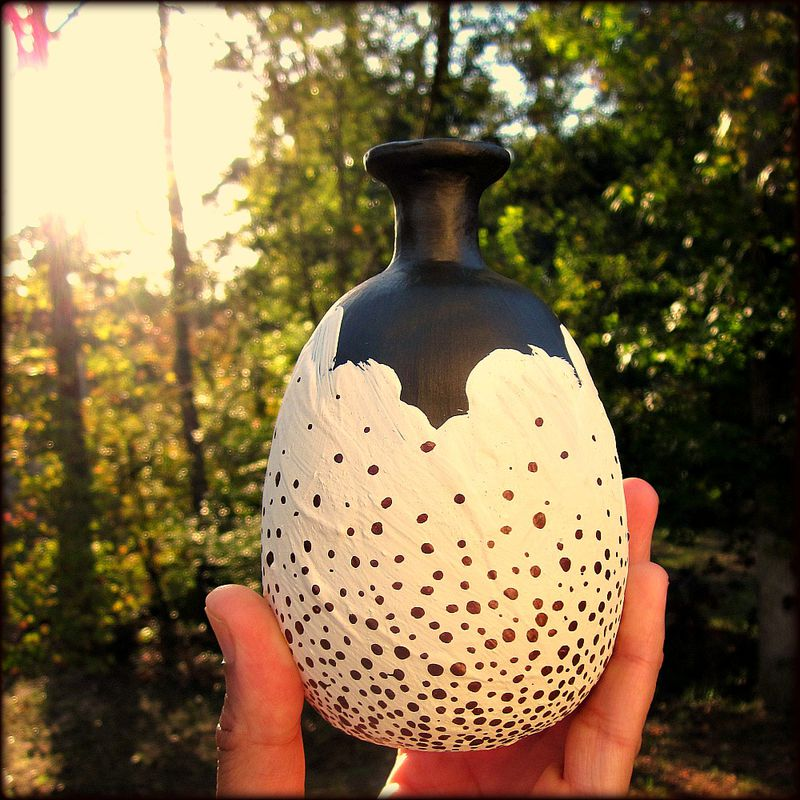 Handmade Bronze and Cream Paper Mache Wet Vase Recycled Decor: Speckle Vase - product images  of
