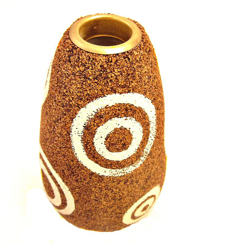 Handmade Mod Cork and Paper Mache Wet Vase Recycled Decor: Rings Vase - product images  of