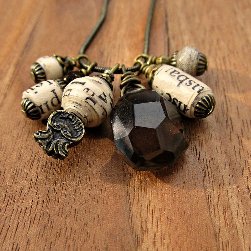 Adjustable Snake Chain Necklace with Smoky Quartz and Handmade Paper Bead Charms: Sable - product images  of